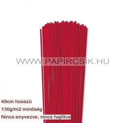 3mm žiarivo červená papierové prúžky na quilling (120 ks, 49 cm)