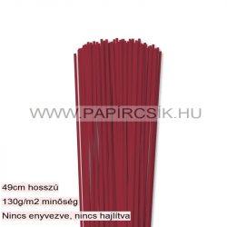 3mm tmavo červená papierové prúžky na quilling (120 ks, 49 cm)