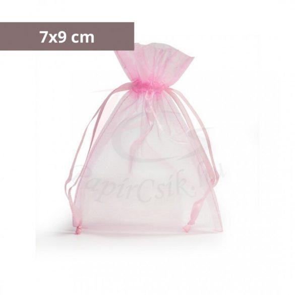Organza tasak (7x9cm, rózsaszín)