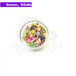 Műanyag csillag alakú félgyöngy (vegyes szín, 6mm, 50 ks)