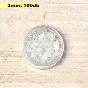 Plastové koráliky polkruh, fehér (3mm, 100 ks)