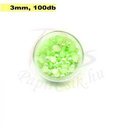 Plastové koráliky polkruh, svetlo zelená (3mm, 100 ks)