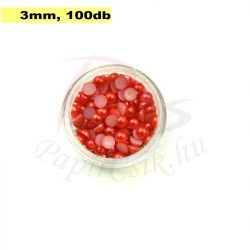 Plastové koráliky polkruh, červená (3mm, 100 ks)