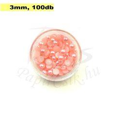 Plastové koráliky polkruh, ružová (3mm, 100 ks)