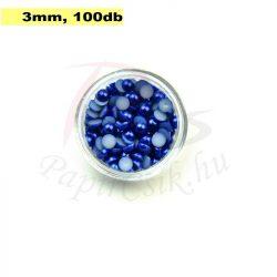 Plastové koráliky polkruh, tmavo modrá (3mm, 100 ks)