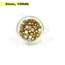 Plastové koráliky polkruh, zlatá (3mm, 100 ks)