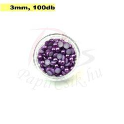Plastové koráliky polkruh, fialová (3mm, 100 ks)