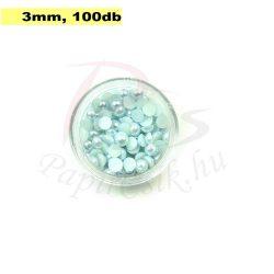 Plastové koráliky polkruh, svetlo modrá (3mm, 100 ks)
