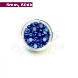 Plastové koráliky polkruh, tmavo modrá (5mm, 50 ks)