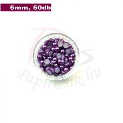 Plastové koráliky polkruh, fialová (5mm, 50 ks)