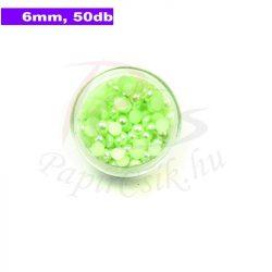 Plastové koráliky polkruh, svetlo zelená (6mm, 50 ks)