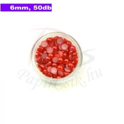 Plastové koráliky polkruh, červená (6mm, 50 ks)