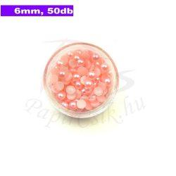 Plastové koráliky polkruh, ružová (6mm, 50 ks)