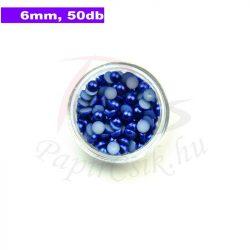 Plastové koráliky polkruh, tmavo modrá (6mm, 50 ks)