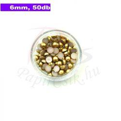 Plastové koráliky polkruh, zlatá (6mm, 50 ks)