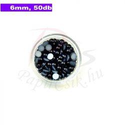 Plastové koráliky polkruh, čierna (6mm, 50 ks)