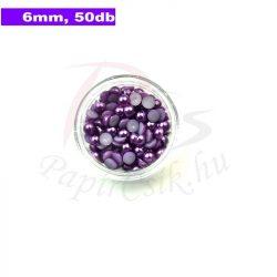 Plastové koráliky polkruh, fialová (6mm, 50 ks)