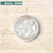 Plastové koráliky polkruh, fehér (8mm, 20 ks)