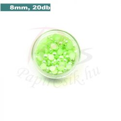 Plastové koráliky polkruh, svetlo zelená (8mm, 20 ks)