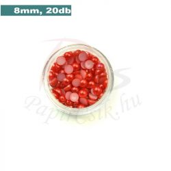 Plastové koráliky polkruh, červená (8mm, 20 ks)