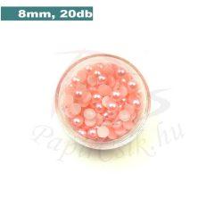 Plastové koráliky polkruh, ružová (8mm, 20 ks)