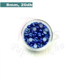 Plastové koráliky polkruh, tmavo modrá (8mm, 20 ks)