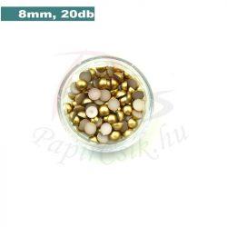 Plastové koráliky polkruh, zlatá (8mm, 20 ks)