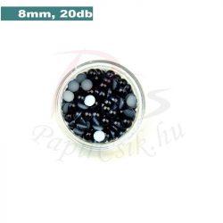 Plastové koráliky polkruh, čierna (8mm, 20 ks)
