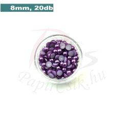 Plastové koráliky polkruh, fialová (8mm, 20 ks)
