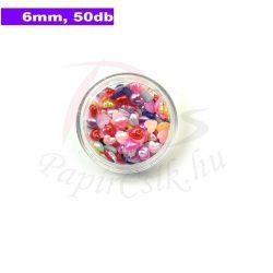 Műanyag szív alakú félgyöngy (vegyes szín, 6mm, 50 ks)