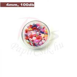 Műanyag szív alakú félgyöngy (vegyes szín, 4mm, 100 ks)