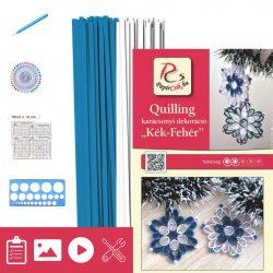 Modro-biela - Quilling vzor (200 prúžkov a popis, pomôcky)