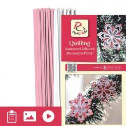 Ružovo-biela - Quilling vzor (200 prúžkov a popis s obrázkami)