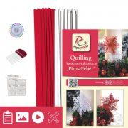 Ružovo-biela - Quilling vzor (200 prúžkov a popis, pomôcky)