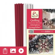 Tmavočervená-Biela perleť - Quilling vzor (200 prúžkov a popis s obrázkami)
