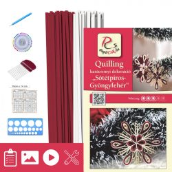 Tmavočervená-Biela perleť - Quilling vzor (200 prúžkov a popis, pomôcky)