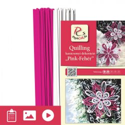 Pink-biela - Quilling vzor (200 prúžkov a popis s obrázkami)