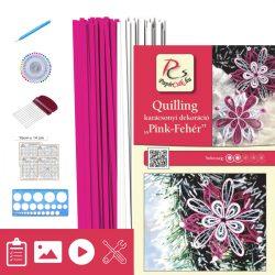Pink-biela - Quilling vzor (200 prúžkov a popis, pomôcky)