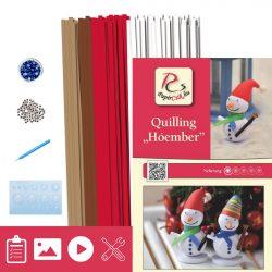 Snehuliak - Quilling vzor (260 prúžkov a popis, pomôcky)