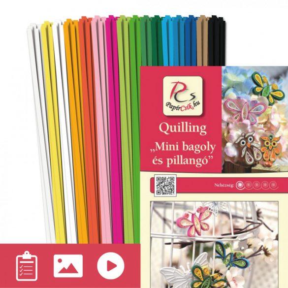 Mini sova a motýľ - Quilling vzor (180 prúžkov a popis s obrázkami)