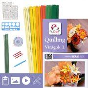 Kvety 1. - Quilling vzor (220 prúžkov a popis, pomôcky)