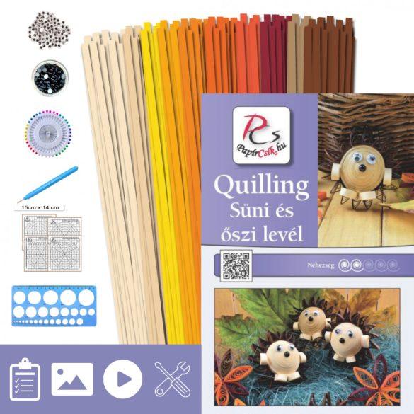 Jež a list - Quilling vzor (200 prúžkov a popis, pomôcky)