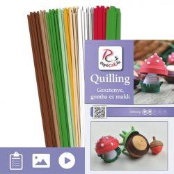 Gaštan, hríbový a žaluďov - Quilling vzor (310 prúžkov a popis s obrázkami)