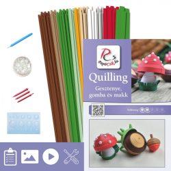 Gaštan, hríbový a žaluďov - Quilling vzor (310 prúžkov a popis, pomôcky)