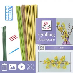 Aranycserje - Quilling minta (170db csík 5db mintához és leírás, eszközök)