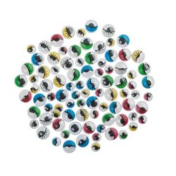 Pohyblivé oči, okrúhle, farebné, s mihalnicou, 10 mm (10 ks)