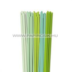 Halványzöld árnyalatok, 6mm-es quilling papírcsík (5x20, 49cm)
