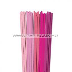Rózsaszín árnyalatok, 6mm-es quilling papírcsík (5x20, 49cm)