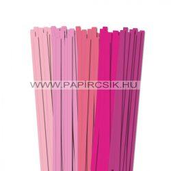 Rózsaszín árnyalatok, 10mm-es quilling papírcsík (5x20, 49cm)