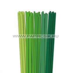 Zöld árnyalatok, 7mm-es quilling papírcsík (5x20, 49cm)
